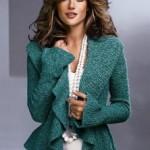 yeşil volanlı abiye örgü ceket modeli