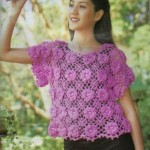 çiçek motifli pembe yazlık örgü bluz modeli