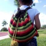 çizgili rengarenk örgü sırt çantası modeli