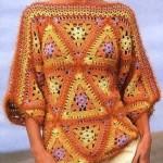 üçgen desenli turuncu örgü bluz modeli