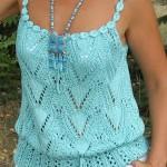 askılı mavi örgü yazlık bluz modeli