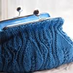 badem örgülü hediyelik mavi örgü cüzdan modeli