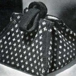 beyaz puantiyeli örgü kitap çantası modeli