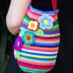 gökkuşağı renkli örgü kol çantası modeli