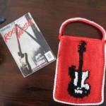 gitar desenli örgü kitap çantası modeli