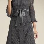 gri kurdaleli yazlık örgü elbise modeli