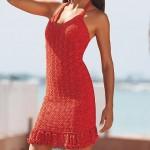 kırmızı askılı yazlık örgü elbise modeli