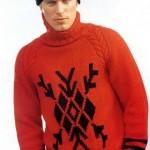 kırmızı nakışlı hediyelik örgü erkek kazak modeli