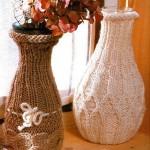 kahverengi krem renklerinde örgü vazo kılıfları