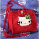 kity desenli kırmızı çocuk kitap çantası modeli