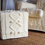 kremrengi örgü koltuk ve puf modeli