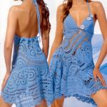 mavi askılı çok şık örgü yazlık elbise modeli