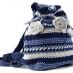mavi büzgülü örgü sırt çantası modeli