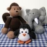 maymun fil penguen örgü hayvan modelleri