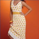 papatya desenli yazlık örgü çok şık elbise modeli