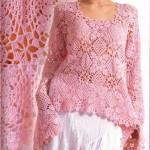 pembe çiçek motifli yazlık örgü bluz modeli