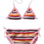 pembe renkli örgü  bikini modeli