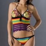 rengarenk çiçek desenli örgü bikini modeli