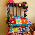 rengarenk örülmüş örgü dekoratif minder modelleri