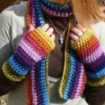 rengarenk örülmüş örgü eldiven ve atkı modeli