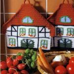 rengarenk örülmüş mutfak için örgü tutacak modeli