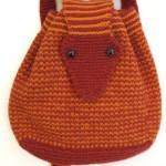 turuncu hayvancıklı örgü sırt çantası modeli