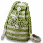 yeşil beyaz örgü sırt çantası modeli