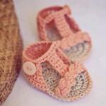 örgü bebek sandaleti