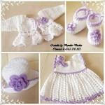beyaz lila elbise şapka patik yelek modeli