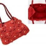 kırmızı çiçek motifli örgü çanta