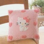 kedi desenşli örgü pembe yastık