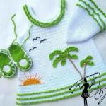 merserize bebek elbisesi patiği ve şapkası