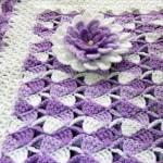 mor beyaz tığ işi battaniye
