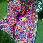 rengarenk motifli battaniye ve örtüler