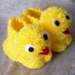 sarı civciv örgü bebek patiği