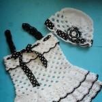 siyah beyaz bebek jilesi ve şapkası