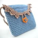 tığ işi mavi örgü çanta