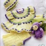 örgü sarı bebek elbisesi külot ve şapkası