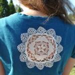 bluzun arkası için örülen beyaz motif