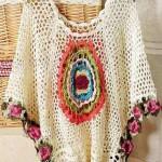 gül motifli krem örgü bluz