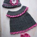 gri pembe örgü elbise şapka ve patiği