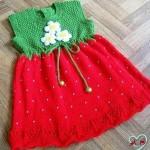 kırmızı yeşil örgü elbise