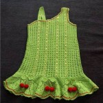 yeşil kirazlı elbise
