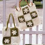 bambu saplı motifli beyaz yeşil çanta örneği