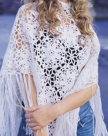 beyaz çiçek motifli şal modeli