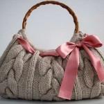 saç örgülü bambu saplı çanta örneği