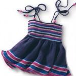 ip askılı örgü mavi kız bebek elbise