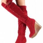 kırmızı platform topuklu fermuarlı çizme modelleri