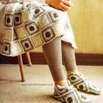 kare motifli battaniye ve çetik örneği