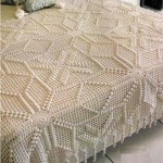 krem rengi yıldızlı dantel yatak örtüsü modeli